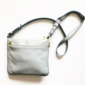 Fossil Leather Blue Gray expandable crossbody
